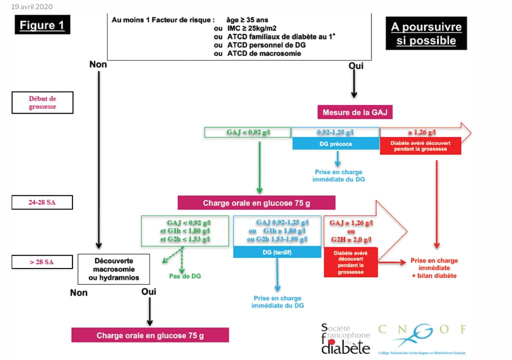 Arbre décisionnel du dépistage du diabète gestationnel